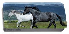 Galloping Through The Scenery In Wyoming Portable Battery Charger