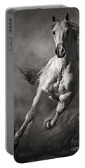 Galloping White Horse In Dust Portable Battery Charger