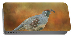 Gambel Quail In Death Valley  Portable Battery Charger