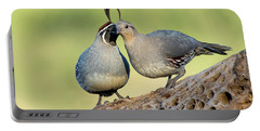 Gambels Quails In Love Portable Battery Charger