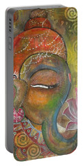 Ganesha With A Pink Lotus Portable Battery Charger by Prerna Poojara