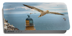 Gannets At Bass Rock Lighthouse Portable Battery Charger
