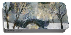 Gapstow Bridge In Snow Portable Battery Charger by Dragica  Micki Fortuna