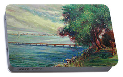 Portable Battery Charger featuring the painting Garda Lake -lago Garda by Walter Casaravilla