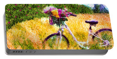 Garden Bicycle Print Portable Battery Charger by Tina LeCour