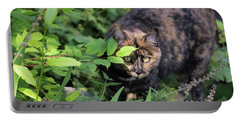 Garden Cat On The Hunt Portable Battery Charger