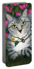 Portable Battery Charger featuring the painting Garden Cat - Silver Tabby Cat Azaleas by Carrie Hawks