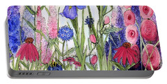 Garden Cottage Iris And Hollyhock Portable Battery Charger