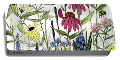 Garden Flowers With Bees Portable Battery Charger