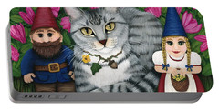 Garden Friends - Tabby Cat And Gnomes Portable Battery Charger