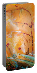 Portable Battery Charger featuring the painting Garden Moment by Winsome Gunning