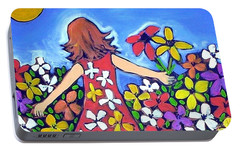 Portable Battery Charger featuring the painting Garden Of Joy by Winsome Gunning