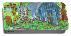 Portable Battery Charger featuring the painting Garden Potting Shed by Cathie Richardson