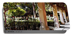 Portable Battery Charger featuring the photograph Garden Promenade - San Fernando Mission by Glenn McCarthy Art and Photography
