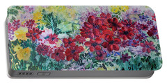 Portable Battery Charger featuring the painting Garden With Reds by Joanne Smoley