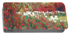 Gardens Of Spring - Tulips In Red And White Portable Battery Charger by Miriam Danar