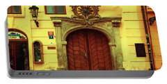 Portable Battery Charger featuring the photograph Gates Of Sun. Series Golden Prague by Jenny Rainbow