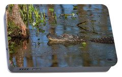 Portable Battery Charger featuring the photograph Gator In Cypress Lake 3 by Gregory Daley  PPSA