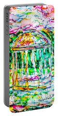 Portable Battery Charger featuring the painting Gazebo Sunset by Monique Faella