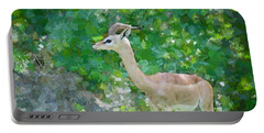 Portable Battery Charger featuring the painting Gazelle Impressions by Judy Kay