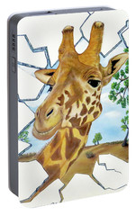 Portable Battery Charger featuring the painting Gazing Giraffe by Teresa Wing