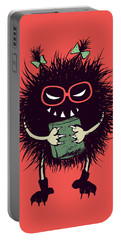 Geek Evil Bug Character Loves Reading Portable Battery Charger