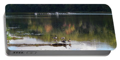 Geese At Rest And Flying Portable Battery Charger