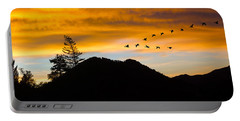 Geese At Sunrise Portable Battery Charger
