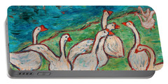 Portable Battery Charger featuring the painting Geese By The Pond by Xueling Zou