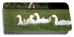 Geese In The Grass Portable Battery Charger