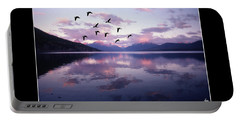 Geese Over Glacier Lake Poster Portable Battery Charger