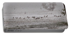Geese Walking In The Snow Portable Battery Charger