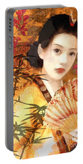 Geisha With Fan Portable Battery Charger by Mo T