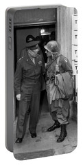 Portable Battery Charger featuring the photograph General Eisenhower And General Ridgway  by War Is Hell Store