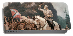 General Robert Lee Saluting The Troops Heading To The Front Portable Battery Charger