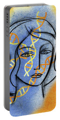 Portable Battery Charger featuring the painting Genetics by Leon Zernitsky