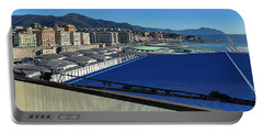 Portable Battery Charger featuring the photograph  Genova Town Landscape From Abandoned Office Building Roof by Enrico Pelos