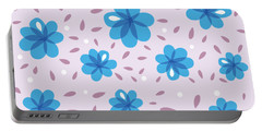 Gentle Blue Flowers Portable Battery Charger