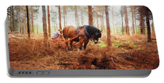 Gentle Giant - Horse At Work In Forest Portable Battery Charger by Jayne Wilson