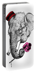 Gentleman Elephant With Pink Rose Portable Battery Charger