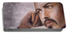 Portable Battery Charger featuring the painting George Michael by Patrice Torrillo