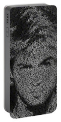 George Michael Song List Mosaic Portable Battery Charger by Paul Van Scott
