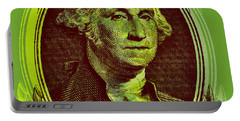 Portable Battery Charger featuring the digital art George Washington - $1 Bill by Jean luc Comperat