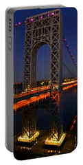 George Washington Bridge At Night Portable Battery Charger by Zawhaus Photography