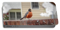 Portable Battery Charger featuring the photograph Georgia Red Breasted Robin by Belinda Lee