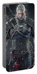 Portable Battery Charger featuring the digital art Geralt Of Rivia - Witcher  by Taylan Apukovska