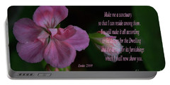 Portable Battery Charger featuring the photograph Geranium After The Rain Scripture by Debby Pueschel