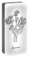 Geranium Flower Botanical Drawing  Portable Battery Charger