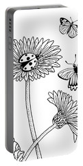 Gerbera Daisies Drawing Portable Battery Charger