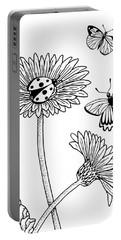 Gerbera Daisies Drawing Portable Battery Charger